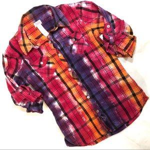 Justice Tie Dye girls button up shirt sz 10